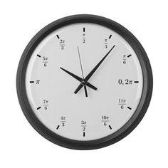Trigonometry (Radians) Large Wall Clock by Designs_for_life - CafePress Math Clock, Clock Art, Geometry Practice, Sat Math, Math Homework Help, Math Courses, Wall Clock Design, Math Lessons, Math Tips