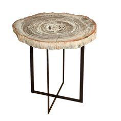 petrified wood table from The Shop via 1stdibs