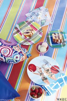 Picnic chic: brighten up your outdoor entertaining spreads with lively prints, fun fabrics and quirky plates.   From 'Garden Party' a story on page 43 of Vogue Living Jan/Feb 2013 (on sale now). Photograph by Guy Bailey.