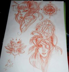 8d22d82af #tattooflash #tattoodesign #lidiamisfit #pirategirl #geisha #lotus # neotraditional #pinup #art #tattooidea #idea