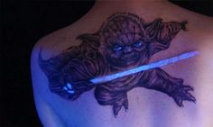 uv tattoo degin of yoda Uv Tattoo, Dark Tattoo, Tattoo Blog, Creative Tattoos, Unique Tattoos, Black Light Tattoo, Weird Tattoos, Tatoos, Unique Tattoo Designs