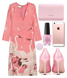 """Gucci Printed silk-twill dress"" by faesadanparkaia ❤ liked on Polyvore featuring Gucci, Miu Miu, Givenchy, OPI and Deborah Lippmann"