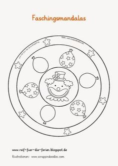Clowns make carnival with children – templates, ideas and instructions – New Site - Fasching Basteln February Holidays, Mardi Gras Carnival, Mandala Coloring Pages, Teaching Materials, The Balloon, Black Spot, Primary School, Diy, How To Fall Asleep