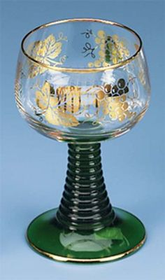 German Rhein Wine Glass Roemer With Gold Colored Leaves -- This is an Amazon Affiliate link. Click image for more details.