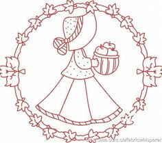 Colour it, sew it, trace it, etc. HOOP ART idea. Imágenes RedWork Candlewicking Patterns, Applique Patterns, Stitch Patterns, Embroidery Needles, Embroidery Applique, Embroidery Designs, Little Stitch, Sunbonnet Sue, Girls Quilts