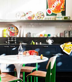 Vintage modern kitchen with bold pops of retro colour