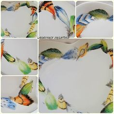 travail plumes peinture porcelaine coeur
