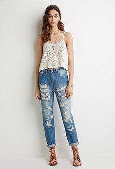 Jeans Boyfriend Tiro Alto Rotos | Forever 21 - 2000052391