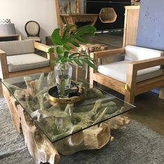 Root Coffee Table available in a variety of sizes, from Here with our outdoor chairs. Visit our showrooms or online store to see more. Interior Styling, Interior Decorating, Interior Design, Online Furniture, Home Furniture, Raw Wood Furniture, Solid Wood Coffee Table, Decorating Coffee Tables, Outdoor Chairs