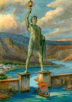 The Colossus of Rhodes..Rhodians celebrated their victory by making giant statue of bronze dedicated to Helios by Chares a native of Rhodes..he was talented and had learnt from his teacher the sculptor Lysippos, who had constructed a bronze statue of Zeus at Tarentum.almost known for 1500 statues in his life time..