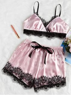 US Sexy Satin Lace Bra+Shorts Sleepwear Nightwear Pajamas Women Lingerie Set Lingerie Look, Lingerie Plus, Babydoll Lingerie, Lingerie Sleepwear, Nightwear, Babydoll Tops, Lingerie Underwear, Satin Pyjama Set, Satin Pajamas