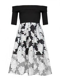 Pixie Market Off the Shoulder Floral Organza Dress