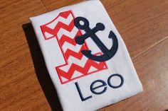 Nautical, Red Chevron,  Personalized Birthday Shirt /Onesie, 1st birthday, 2nd birthday, 3rd birthday, 4th birthday, 5th birthday on Etsy, $24.95