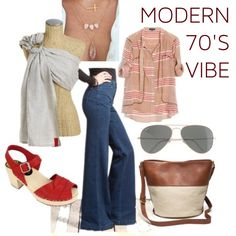 Loving the modern grooviness of this look! This week we fell in love with a pair of wide-leg jeans from Henry & Belle that set the tone of our 70's-inspired mood board. Here they're mixed with a rag & bone blouse, Lotta From Stockholm clog sandals, Madewell bag, classic Ray-Ban aviators, layered necklaces, and (of course) a Sakura Bloom Pure Linen sling in Organic Maple.