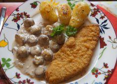 Das perfekte Wiener-Schnitzel vom Schwein mit Rahm-Knoblauch-Champignons und Rosmarinkartoffeln-Rezept mit einfacher Schritt-für-Schritt-Anleitung: Den…