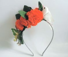 Flower Alice Band with Flowers and white Bird. by SweetAmyBows