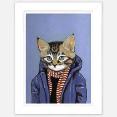 Framed Cat Print Brewster  by Heather Mattoon