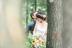 #Woodland / #bohemian inspired wedding couple portraits in enchanting forest in Nova Scotia! #love #wedding #bridal #bouquet #forest #beautiful #flowers #flowercrown #cute