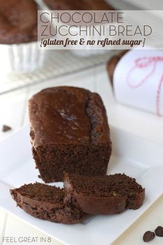 This Chocolate Zucchini Bread is so moist and delicious, you'd never guess it is gluten and dairy free, high in protein and fiber, and has no refined sugar!
