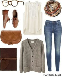 Nice outfit for school. I especially love that white top!