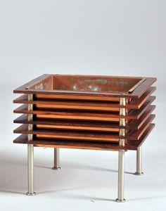 Nils Jonsson; Teak, Copper and Steel 'Miami' Planter for Troeds, c1960.