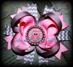 Cute Hair bow boutique style owl hair bow
