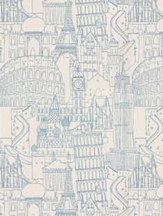 Globetrotter Blue  is taken from Clarke and Clarke's Showstoppers wallpaper collection.