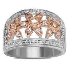 Ebay NissoniJewelry presents - 1/3CT Diamond 14k White Pink Flower Fashion Ring    Model Number:FR6033J-K477    http://www.ebay.com/itm/1-3CT-Diamond-14k-White-Pink-Flower-Fashion-Ring-/222062059992
