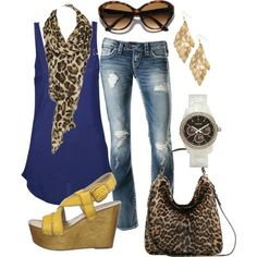 Match your royal blue with leopard scarves and handbags for a casual look.