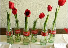 decorating with coke bottles...daisies would be cute too.