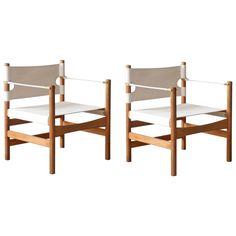 Two Børge Mogensen Danish Modern #2221 Fredericia Oak and Canvas Easy Chairs | 1stdibs.com