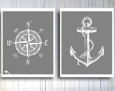 Nautical Compass Rose Anchor Art print Rustic Vintage Gray and white Gift for him Manly Home Office wall hanging  Fathers day gift