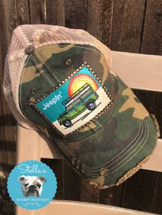 a678f0f0 Camo Vintage Blingy Jeep Hat. Stella's Shabby Boutique LLC · Hats