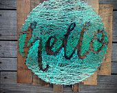 hello String Art - Typography in a Circle - Hand lettering - Mint Ombre - String & Nail