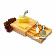 Picnic Time Festiva 8-3/4-Inch Cheese Board/Tool Set by Picnic Time. $29.99. Stainless steel tools include one each: blunt-nosed soft cheese knife, hard cheese knife/spreader, chisel knife, and cheese fork. Measures 7-3/4 by 8-3/4 by 2-Inch. Compact wood cutting block complete with cheese tools. Great for picnics, outdoor concerts or parties. Rubberwood is a renewable, sustainable resource. This Festiva cheese ensemble by Picnic Time features a mini cutting block, p...
