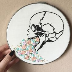 """Delicate florals spilling out of a skull set in a 7"""" vintage metal hoop. It feels so good to be making new anatomy + floral pieces again.  This is a one-of-a-kind piece so get it while you can! Link in profile //UPDATE: SOLD!"""