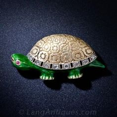 Enamel and Diamond Turtle Pin - Antique & Vintage Pins and Brooches - Vintage Jewelry