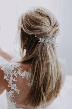 Half Up Half Down Wedding Hairstyles Ideas ★ See more: https://www.weddingforward.com/half-up-half-down-wedding-hairstyles-ideas/8