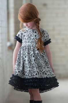 Persnickety Clothing Penny Lane Seraphina Dress in Charcoal Fall 2015 Delivery 1 Little Girl Outfits, Little Girl Dresses, Girls Dresses, Girls Party Dress, Baby Dress, Toddler Fashion, Girl Fashion, Girls Boutique Dresses, Persnickety Clothing