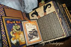 Here my new Halloween Album. This Collection of Graphic 45 is amazing. Thank you Graphic page. Halloween Mini Albums, Halloween 5, Mini Scrapbook Albums, Scrapbook Pages, Papel Scrapbook, Halloween Paper Crafts, Halloween Decorations, Graphic 45, Memory Album