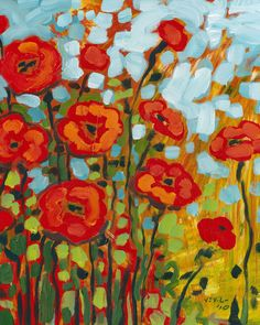 Red Poppies 8 x 10 inch floral Fine Art Print by jenlo262 on Etsy, $30.00