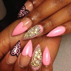 Pink Stiletto Nails