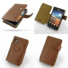 PDair Leather Case for LG Optimus L5 E610 - Book Type (Brown)