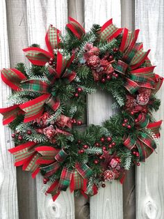 Christmas Wreath Traditional Christmas Wreath Red and Green | Etsy