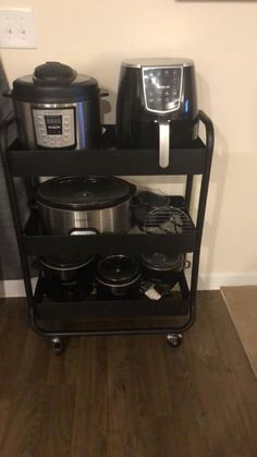 6 Instant Pot Storage Solutions Besides the Beloved Target Cart - New house ideas! Under Cabinet Storage, Pot Storage, Kitchen Storage Solutions, Kitchen Organization, Diy Kitchen Appliance Storage, Kitchen Storage Cart, Kitchen Cart, Kitchen Utensils, Ikea Elvarli