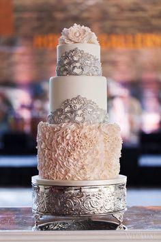 The Bride Wore Romona Keveza at this Evergreen Brick Works Wedding - WedLuxe Magazine Beautiful Wedding Cakes, Beautiful Cakes, Amazing Cakes, Wedding Cake Designs, Wedding Cake Toppers, Wedding Cake Inspiration, Wedding Ideas, Engagement Cakes, Ruffle Cake
