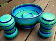 Vintage 50s Striped Italian Pottery- Baldelli.