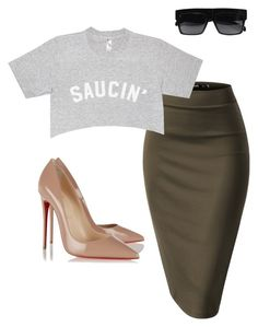 """Saucin'"" by purlove on Polyvore featuring CÉLINE and Christian Louboutin"