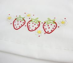 sweet little embroidered strawberry tea towels