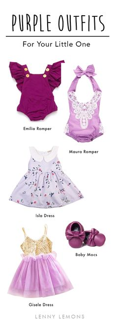 UP TO 70% OFF & FREE USA SHIPPING! Adorable dresses, rompers and mocs for your baby girl. The cutest garments in purple for this summer season. Get them today with a great discount in Lenny Lemons, baby and toddler apparel.